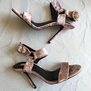 TopShop Blush Pink Velvet Heels 35